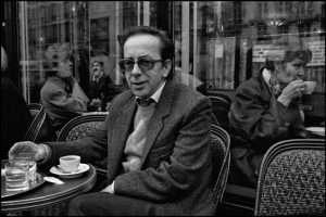 France.  Paris.  Albanian writer Ismael Kadare at a café.