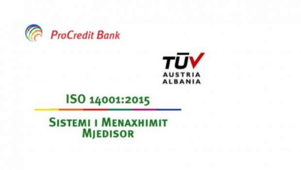 Banka ProCredit certifikohet me ISO 14001:2015